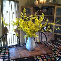 Spring Forsythia ~  I have a big basket of these.  I move them around the house because everywhere I put them they make the room happy.