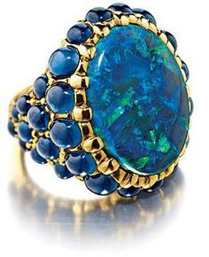 I love opals and sapphires! Opal and Sapphire ring