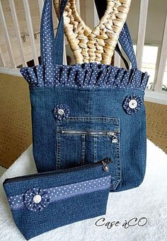 great embellishments for upcycled jeans tote and purse