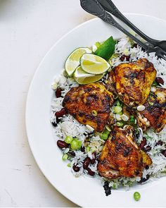 Bring a taste of Jamaica to your weeknight dinner with our easy recipe for jerk chicken thighs, served with a speedier take on rice and peas.