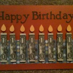 card made for 8 year old nephew's birthday! Creative Money Gifts, Cool Gifts, Diy Gifts, Dollar Bill Origami, Money Origami, Origami Paper, Birthday Cards, Birthday Gifts, Birthday Basket