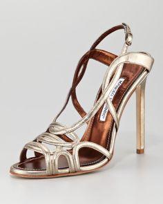 Manolo Blahnik Silver Fertillia Metallic Leather Slingback Sandal €660 #Manolos…  with <3 from JDzigner www.jdzigner.com