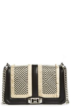 Two-tone woven panels add a chic boho vibe to this Rebecca Minkoff crossbody.