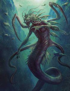 Dagon, an art print by Jason Engle Scary Art, Sea Monsters, Cosmic Horror, Lovecraft Art, Creature Art, Fantasy Creatures, Eldritch Horror, Dark Fantasy Art, Monster Drawing
