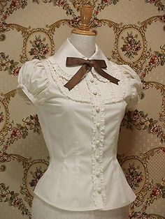plus size summer women office tops short sleeve lace white gothic lolita blouse cosplay costume female shirts * This is an AliExpress affiliate pin. Click the VISIT button to find out more on AliExpress website Moda Lolita, Lolita Mode, Vintage Outfits, Vintage Fashion, White Shorts Womens, Mode Rock, Estilo Lolita, Bcbg, Vintage Mode