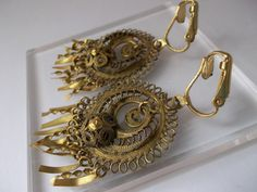 Victorian Filigree Lace Pendant Earrings aka Cannetille Style Antique Jewelry/ 1800's Victorian Pendants