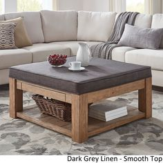 Lennon Pine Square Storage Ottoman Coffee Table by Tribecca Home ([