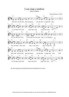 I can Sing a Rainbow Preschool Music, Music Activities, Teaching Music, School Songs, Music School, Elementary Choir, Nursery Rhymes Lyrics, Rainbow Songs, Online Music Lessons