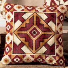 Inverse Geometric Cross Stitch Cushion Kit By Vervaco Cross Stitch Borders, Cross Stitch Designs, Cross Stitching, Cross Stitch Embroidery, Cross Stitch Patterns, Motifs Bargello, Bargello Patterns, Cushion Embroidery, Embroidery Patterns