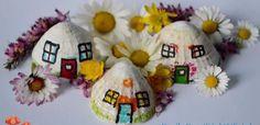 Shell houses Shell House, Family Day, Fairy Houses, Shells, Christmas Ornaments, Holiday Decor, Beach, Home Decor, Conch Shells