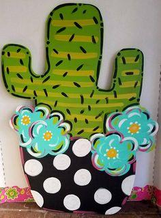 65 Ideas Spring Door Decorations For School Pots Letter Door Hangers, Teacher Door Hangers, Teacher Doors, Burlap Door Hangers, Painted Wooden Signs, Painted Doors, Wooden Letters, Spring Door, Spring Summer