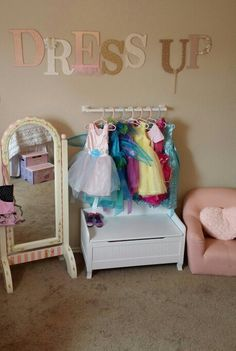 19 Trendy Toddler Closet Organization Little Girls Dress Up Little Girl Dress Up, Girls Dress Up, Cutting Edge Stencils, Toddler Closet Organization, Bedroom Organization, Dress Up Area, Princess Room, Girl Closet, Toy Rooms