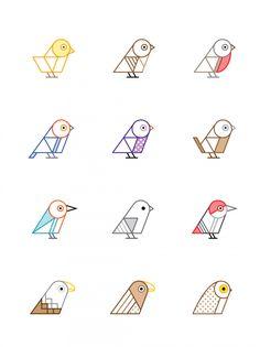 birds of britain geometric illustration icons