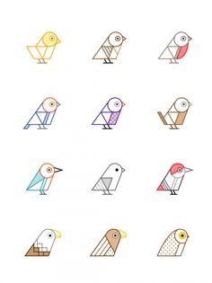 birds of britain geometric illustration icons