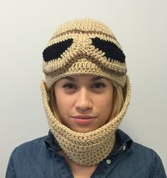 A Rey hat! Be Rey for Halloween! This crocheted beanie from the movie Star Wars: The Force Awakens is made of soft beige yarn. It has a scarf which can be adjusted for length or removed so the beanie can be worn alone. The goggles are crocheted and hand stitched on so they are flexible and wont come loose or fall off. Its ideal for dress up fun and will make a great Halloween costume. Of course it will also keep you warm! It is available in preschool, child and teen/ adult sizes.  The other…