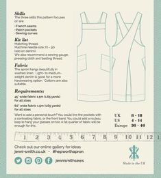 Hepworth Apron Sewing Pattern is the perfect project for beginners – Jenni Smith Sewing Hacks, Sewing Tutorials, Sewing Crafts, Sewing Patterns, Apron Patterns, Sewing Tips, Dress Patterns, Sewing Lessons, Japanese Apron