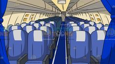 Economy Class Airline Section Background: An economy section of a commercial airline with three seats per row blue seat cover with a white mid headrest a middle aisle covered in blue carpet cream colored cabin and a blue curtain divider Blue Seat Covers, Stinky Dog, Curtain Divider, Summer Pool Party, Blanket Cover, Blue Curtains, Group Of Friends, Three Friends, Blue Carpet