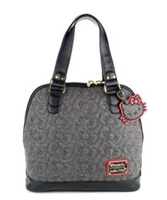 Loungefly Hello Kitty Grey Quilted Bow Tote