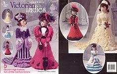 Annie's Attic Crochet Victorian Ladies Fashion Doll ensembles
