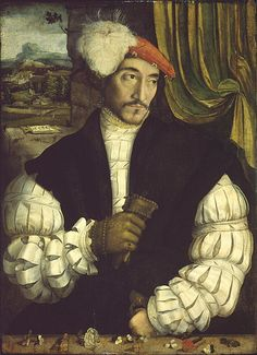 Portrait of a Man by Austrian School or German (Bavarian) School, Date painted: 1533 (early Renaissance) Renaissance And Reformation, Mode Renaissance, Renaissance Jewelry, Renaissance Portraits, Renaissance Paintings, Old Portraits, Portrait Art, Charles Viii, Landsknecht