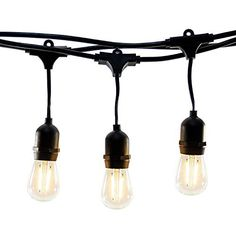 Hyperikon LED Outdoor Commercial String Lights 48ft with 15 Hanging Sockets 2W LED S14 LED Bulbs included - Weatherproof Vintage Edison String Lights for Patio Backyard Party Wedding decoration