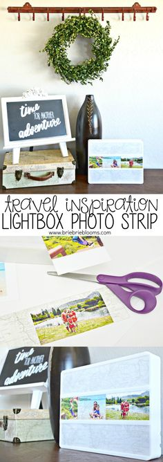 Update your home lightbox with easy DIY lightbox photo strips for travel inspiration. Display family vacation photos to remind you to use vacation days! #ad