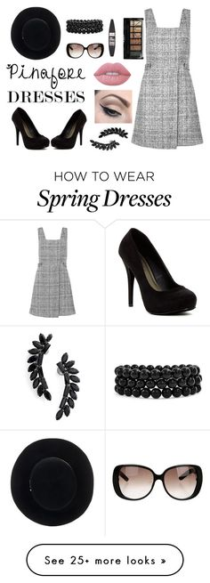 """""""Pinafore Dresses"""" by carinalynngonyer on Polyvore featuring New Look, Michael Antonio, Eugenia Kim, Gucci, Bling Jewelry, Maybelline, Boohoo, Lime Crime, Mehron and Cristabelle"""