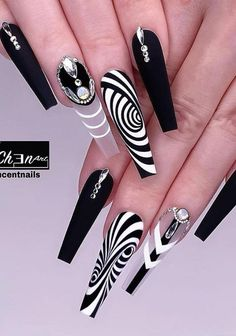 48 of These Black Coffin Nails Art Enhancements are The Most Fashionable - Lily Fashion Style Glam Nails, Dope Nails, Fancy Nails, Bling Nails, Stiletto Nails, Perfect Nails, Gorgeous Nails, Pretty Nails, Cute Acrylic Nail Designs