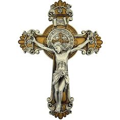 Saint Benedict Wall Cross Crucifix With Antique Silver And Gold Finish, 10 1/4 #ReligiousGifts