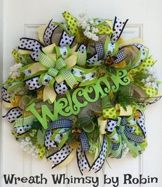 Burlap Mesh Floral Welcome Wreath in Lime, Yellow, Black & White, Summer Wreath, Deco Mesh Wreath, Front Door Wreath, Bumblebee Decor by WreathWhimsybyRobin on Etsy