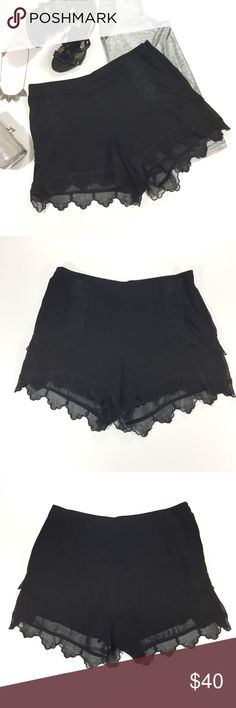 """Willow & Clay Embroidered Lace Shorts Black lace shorts with scalloped hem by Willow & Clay. Size L.  - 32"""" waist, 11"""" rise, 13.5"""" length - 100% viscose - Fully lined - Side zip closure Willow & Clay Shorts"""
