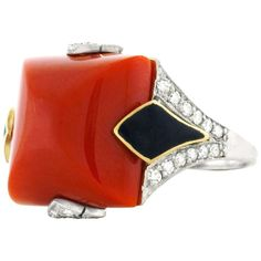 Art Deco Coral, Diamond and Enamel Gold Ring 1