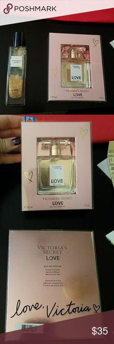 Victoria's Secret LOVE Eau de Parfum & Shimmer Oil New in box 1oz Victoria's Secret LOVE Eau de Parfum spray. The shimmer fragrance oil has never been used or opened. It came in a gift set I bought separately and just didn't need it. Victoria's Secret Other