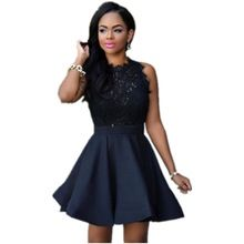 2016 New Year Gift vestido de festa Adult Black/White/Red Lace Top Skater Dress LC22549 Ladies Charming Flare Party Ruched Dress(China (Mainland))