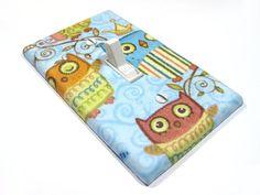 Sky Blue Sleepy Owl Decor Light Switch Cover by ModernSwitch, $6.00