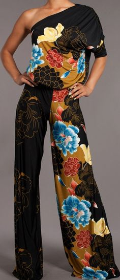 Japanese Asian Floral Print One Shoulder Palazzo Pant Sexy Career Jumpsuit Fashion 2017, Love Fashion, Womens Fashion, Fashion Design, Fashion Trends, Classy Outfits, Beautiful Outfits, Casual Outfits, Mono Floral
