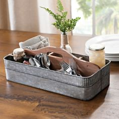 Galvanized Metal and Wood Decorative Caddy