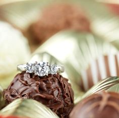 Whilst we don't recommend hiding her engagement ring inside an actual chocolate (you don't want her to eat it!), hiding it inside a box of chocolates is a romantic way to ask for her hand in marriage. #EngagementSurprise