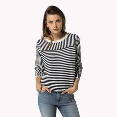 Shop de gestreepte trui van katoen en verken de Tommy Hilfiger truien  collectie voor dames. Gratis retourneren & verzending vanaf €50. 8718939536423