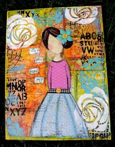 Canvas mixed media - Just a Girl