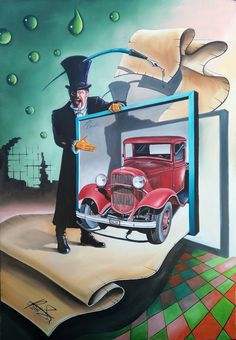 """THE DREAMS SELLER"" - Oil on canvas - Mihai raceanu Adrian Size:91 x 131 cm(35.8 x 51.5 inch) #painter #painting #surrealism  #art #painter #painture #surrealism"