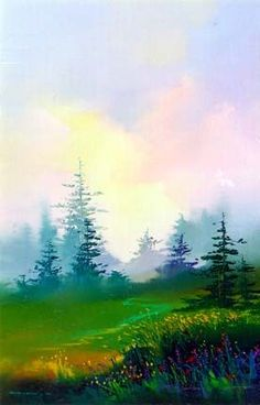 Lahaina Galleries - Fine Art Galleries & Online - Dawn by Thomas Leung Watercolor Pictures, Watercolor Landscape Paintings, Watercolor Trees, Easy Watercolor, Landscape Art, Watercolor Artists, Abstract Paintings, Oil Paintings, Academic Drawing