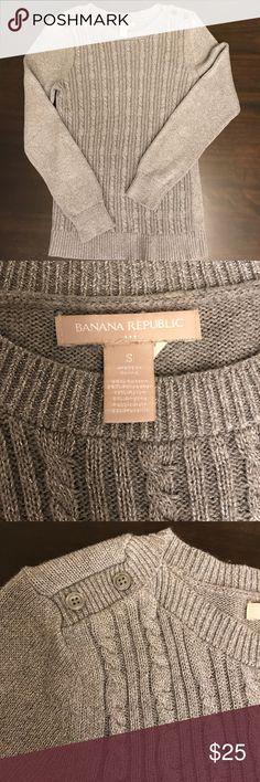 Banana Republic Women's Silver Cable Knit Sweater 48% cotton, 24% polyester, 19% nylon, 5% angora rabbit hair, & 4% metallic Banana Republic Sweaters Crew & Scoop Necks