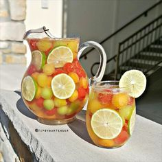 Sparkling Melon Sangria - For more delicious recipes and drinks, visit us here: www.tipsybartender.com