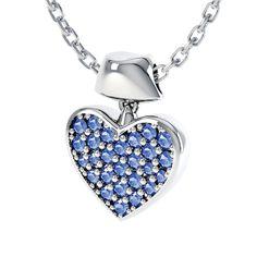 Kayla Blue Sapphire Sterling Silver Necklace: Rs.4,718    #Sapphire #Blue #Necklace #Sterling #Silver #Heart #love