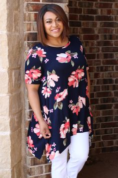 One Faith Boutique - Floral Dreams Tunic With Raw Asymmetrical Hem ~ Navy ~ Sizes 12-18, $37.00 (https://www.onefaithboutique.com/new-arrivals/floral-dreams-tunic-with-raw-asymmetrical-hem-navy-sizes-12-18/)