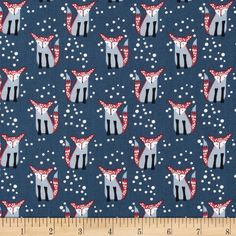 Dear Stella Hilltop Foxes Navy from @fabricdotcom  Designed by Wee Gallery for Dear Stella Designs, this cotton print fabric is perfect for quilting, apparel and home decor accents. Colors include black, red, white, and shades of blue.