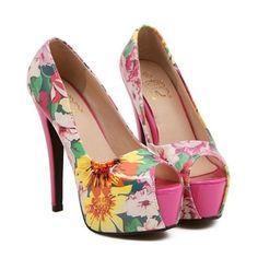 Floral Peep-Toe Stilettos