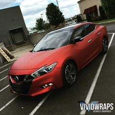 This Nissan is looking fancy wrapped in Arlon 2600LX Red Aluminum. Thanks Vivid Wraps, wrapscinci.com