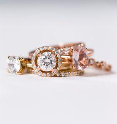 Diamond, Morganite, & Moissanite Engagement Rings